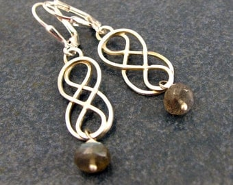 Earrings, Celtic, Infinity Knot, Labradorite, Gemstone, hand made, Dangle, birthday, Anniversary, Mothers Day, Gift