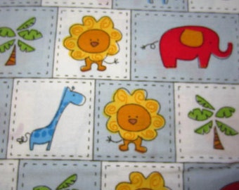 Jungle animals in squares- giraffes elephants lions trees
