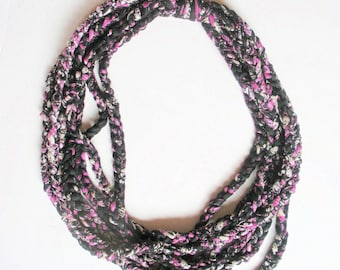 Crochet Fabric Chain Necklace in Pink, Black and Grey, ready to ship.