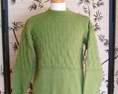 Men's Crew Neck Sweater Leaf Green, Pullover Sweater, Mens Medium
