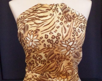 Exotic Animal and Flower Print Halter Top, Fits Women and Teens Size 0 to 12