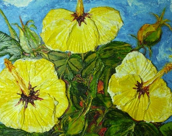Yellow Hibiscus Original Impasto Oil Painting by Paris Wyatt Llanso
