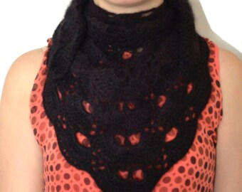 Black Angora Crochet Scarf or Mini Chale