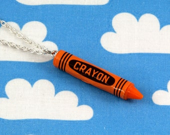 Orange Crayon Necklace