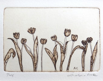 original etching and aquatint of tulips