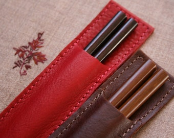 Red & Distressed Vintage Chopstick Pouch