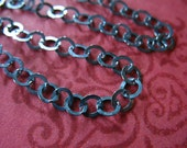 Shop Sale..Oxidized Sterling Silver Chain, Rolo Chain by the foot, Flat Links, 3.8 mm, wholesale extender chain LL. L551.ox