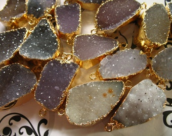 Druzy Drusy Connector Link Pendant Charm / 1-10 pc, 24-35 mm, Gold Electroplated Edge Geode Natural Drussy Druzzy, Double Bail, ap31.8 nf