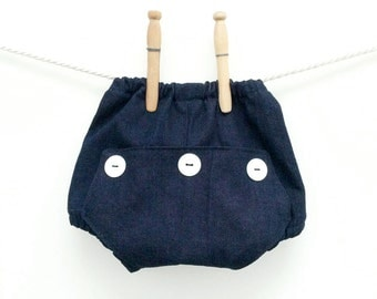 Dark Denim Baby Long John Diaper Covers | Boys Retro Bloomers | Toddler Boy Shorts | Infant Underwear Cover | Newborn Photo Prop