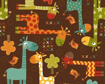 Giraffe Crossing Main in Brown by Riley Blake - 1 Yard