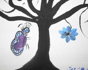 Original Flower and Butterfly with Tree Painting by Jordie