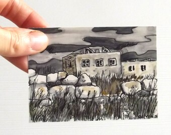 landscape aceo pen drawing and watercolor ruins at night
