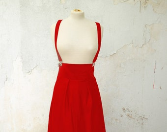 Valentines Day Red Skirt with Suspenders, High Waisted, also available in Black, and Green Cotton Gabardine