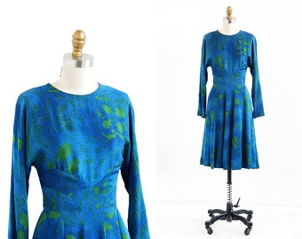 vintage 1960s dress / 60s dress / Blue and Green Silk Dress by Pauline Trigere