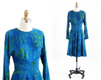 vintage 1960s dress / 60s dress / Blue and Green Silk Dress by Pauline Trigere