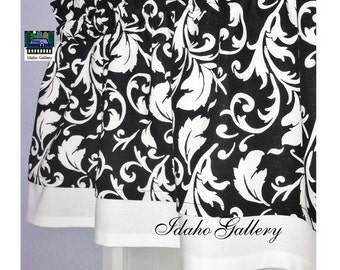 Double Layered Curtain Black and White Scroll Bedroom Kitchen Window TrValance Modern