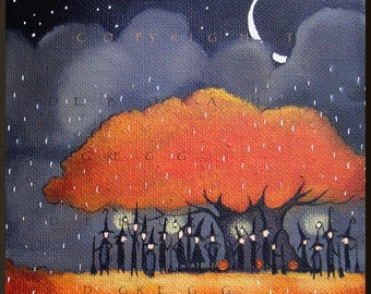 Grounded  a small Witch, Halloween Fall Tree Moon Rain PRINT by Deborah Gregg