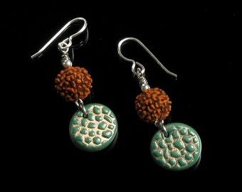 Rudraksha Bead Earrings, Rustic Polymer Clay Dangle Earrings, Yoga Jewelry, Unique Gift Jewelry for Women, Rudraksha Jewelry, Rustic Jewelry