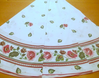"vintage large round tablecloth, easy-care cotton, white base, red maroon green flowers, 72"" diameter"