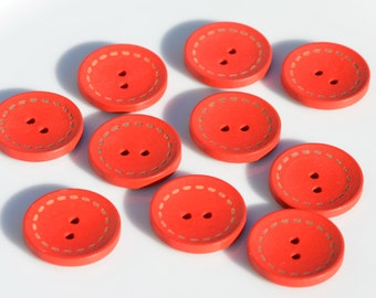 25 Red Wood Buttons 25mm BN139