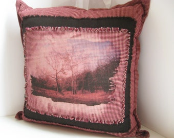 Country Pillow, Gingham Plaid, Pillow Landscape, Rustic Landscape Photo, Tree in the Valley