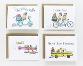 Traveling Pugs Assorted Cards (set of 8)