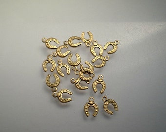 18 teeny tiny brass horseshoe charms