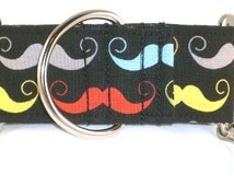 1.5 inch mustache greyhound martingale dog collar, black, colorful, Movember, handlebar, facial hair, collar with tag keeper--Mustache-Black