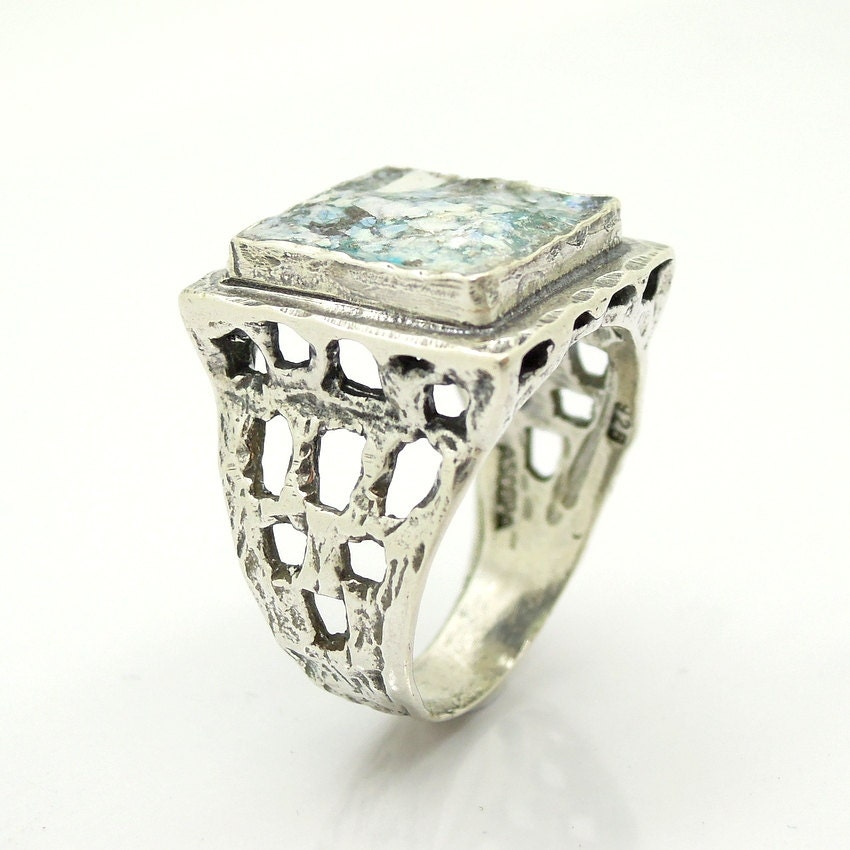 Large silver sterling ring for men with roman glass