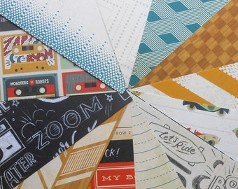 DESTASH - Crate Paper Boys Rule: Tapedeck - Pack of 12 Different Scrapbook Papers, 6 inch X 6 inch