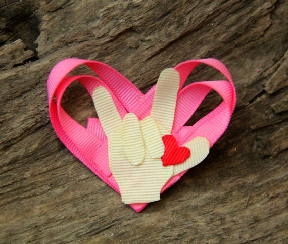 Heart, I LOVE YOU, sign language, ASL, Hand, Ribbon Sculpture
