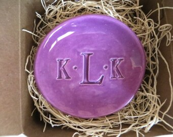 Monogram dish, wedding ring holder, trinket dish, Purple Orchid, gift for her, handmade pottery, Made to Order