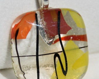 Fused Dichroic Glass Pendant - Beautiful Red, Orange, Gold and Black  Pendant No. 0071