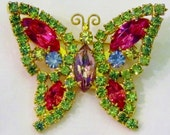 Vintage Rhinestone Butterfly Brooch, Bright Pink, Lime Green, Blue, Lilac Purple and Yellow