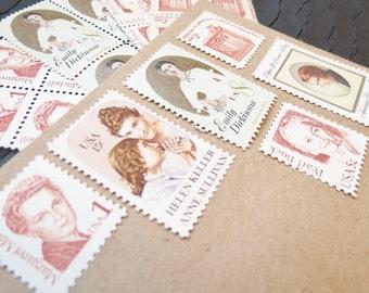 Literary Ladies ..  UNused Vintage Postage Stamps  .. post 5 letters