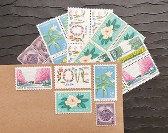 LOVE .. Flora  .. UNused Vintage Postage Stamps  .. post 5 letters