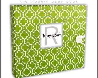 BABY BOOK | Green Moroccan Tiles Baby Book - Ruby Love Modern Baby Memory Book =