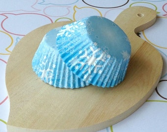 Snow Flakes Icy Blue Cupcake Liners