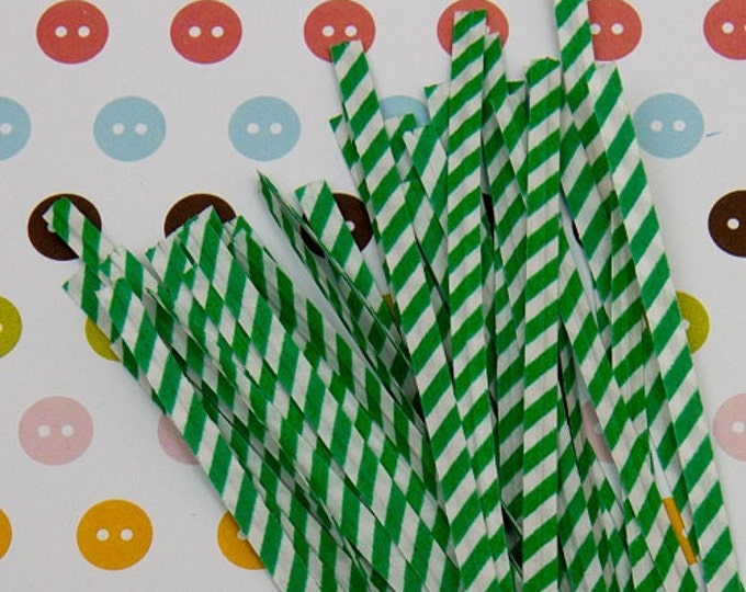 Green Stripes Paper Twist Tie