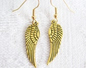 Antiqued Gold or Silver Wing Pierced or Clip On Earrings
