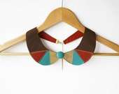 Turquoise and Gold Leather Collar Bib Necklace Europeanstreetteam  Geometric Shapes - SmArtAnna