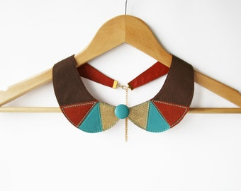 Detachable Peter Pan Collar Turquoise and Gold Leather Collar Bib Necklace Europeanstreetteam Geometric Shapes