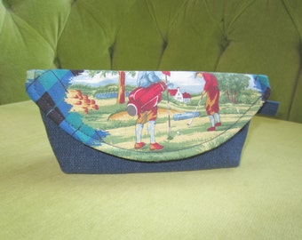 3D Sunglass Case in Blue with Golf Argyle