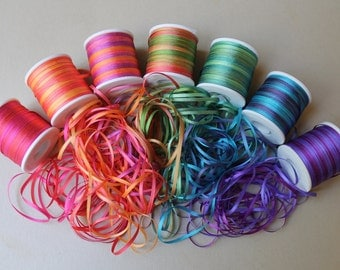 Rainbow mix - 21 metres of 2mm variegated silk ribbon