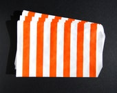 10 Orange Striped Paper Gift Bags (Medium 5 x 7.5)