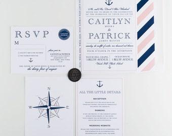 New England Nautical Wedding Invitation, Navy and Blush, Wedding Announcement