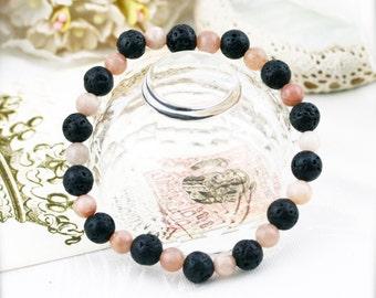Strength and fertility bracelet (unisex) -  lava and moonstone