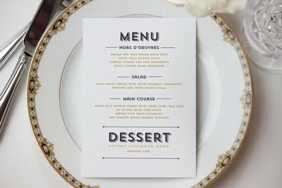 Modern Typographic Dinner Menu