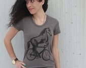 Horse on a Bicycle - Ladies Shirt - Tri Coffee American Apparel