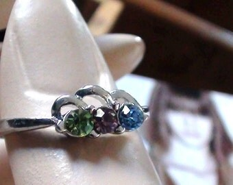 Vintage Aquamarine Amethyst and Topaz 4mm diam Sparkles Paste Cz's   Ring   Size 6 1/2 You can use as Stackable ring too  On SaLe Now